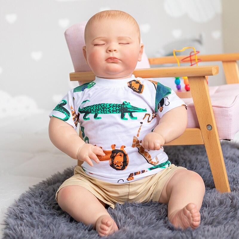 60 سنتيمتر اليدوية تولد من جديد طفل النوم جوزيف كبير بوي 3 شهر حجم طبقات متعددة اللوحة مع الأوردة مرئية عالية الجودة