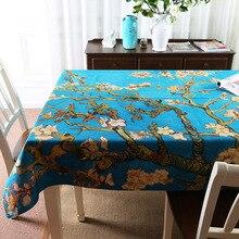 Simanfei Rectangle Tablecloths Van Gogh Digital Printing Cotton Linen Dining Coffee Tea Table Cover Decorative Table Cloth