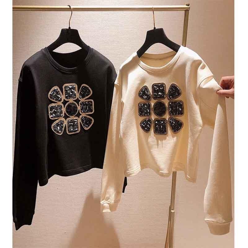 Cosmicchic blusas femininas duplo c pullovers curto o-pescoço preto e branco outono inverno usar moda quente
