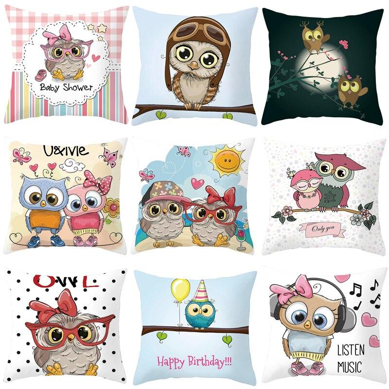 Funda de cojín con búho Silstar Tex Cut, fundas decorativas para sofá de dibujos animados, regalos para niños, sofá y silla de casa