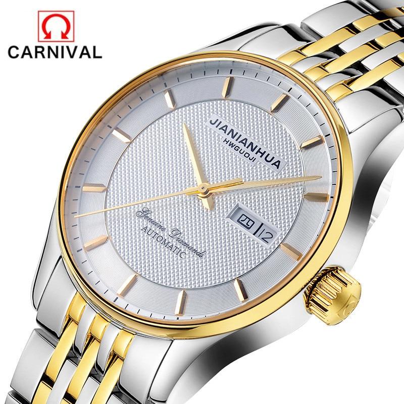 CARNIVAL Brand Luxury Gold Automatic Watch Men Waterproof Fashion Business Dress Calendar Mechanical Wristwatches Reloj Hombre