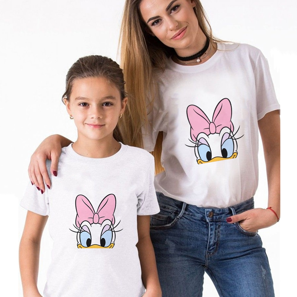 Daisy Duck Pattern T-Shirt Woman Loose Short Sleeve Tees Summer Vintage Mom and Daughter T-shirts Fa