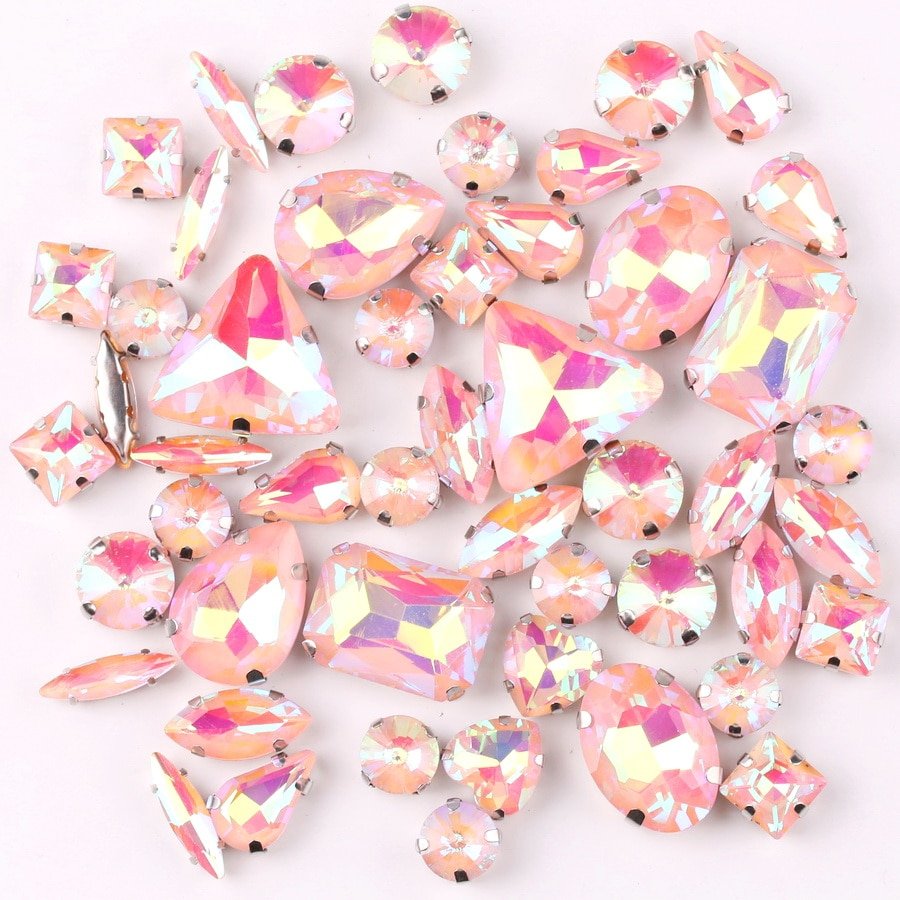 Garra plateada gelatina caramelo Lt melocotón AB 50 unids/bolsa formas mezcla cristal para coser diamantes de imitación vestido de boda zapatos bolsa diy