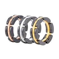 fashion black ceramic rings charm male stainless steel gold color wedding rings for men party jewelry gift