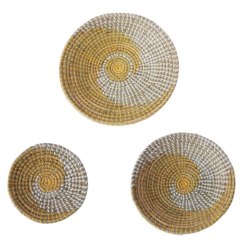 3 قطعة Boho المنسوجة جدار سلة ديكور اليدوية الأعشاب البحرية معلقة صينية مزخرفة وعاء الفاكهة القهوة الشاي طبق تقديم الحلوى