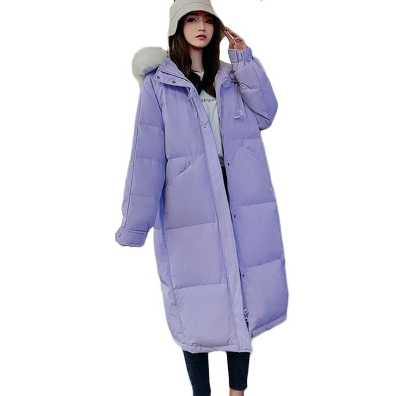 2021 شتاء جديد دافئ أسفل سترة قطن أنثى الكورية طويل مبطن ملابس خارجية غير رسمية مقنعين الفراء طوق سترة معطف Ropa Mujer