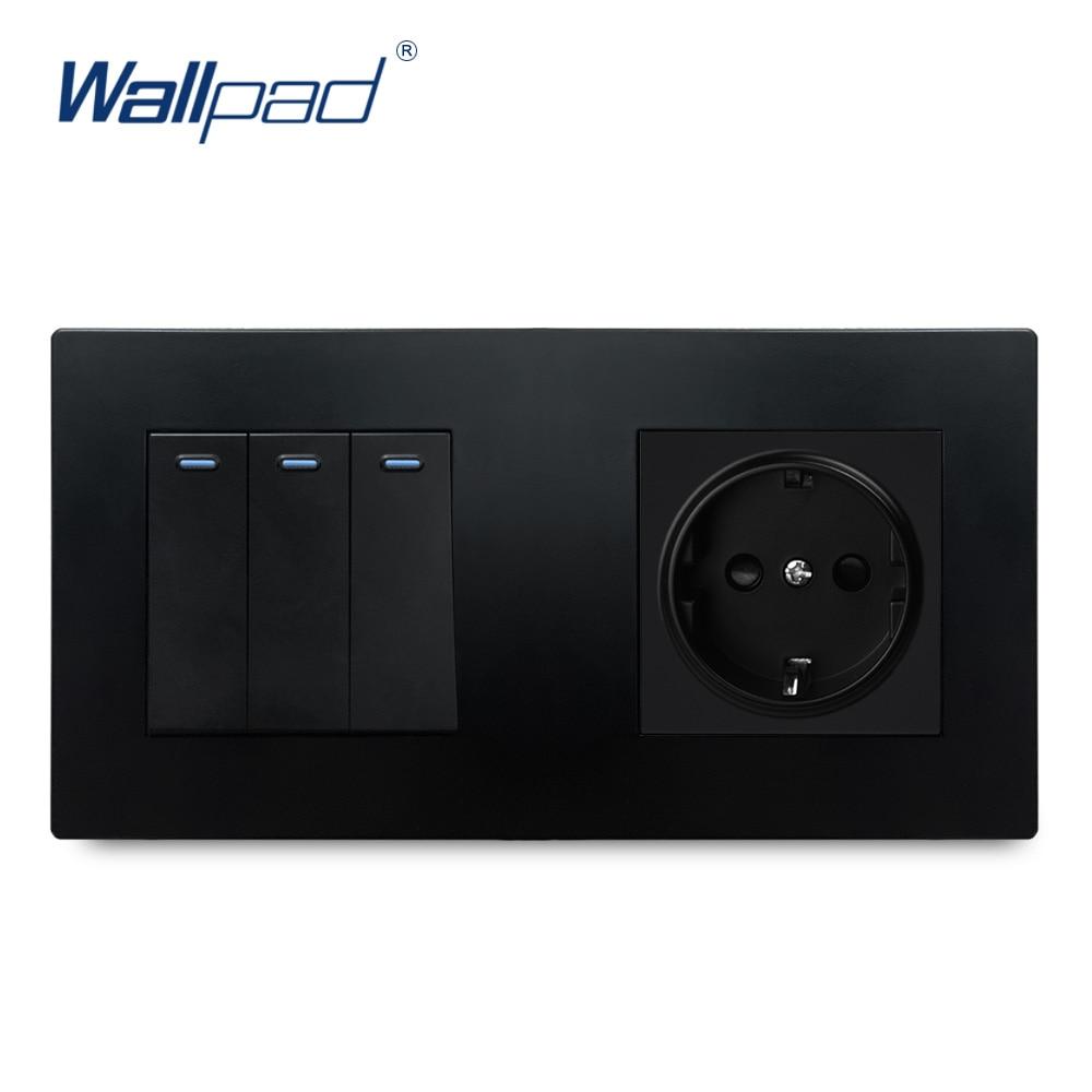 3 عصابة 2 طريقة مع الاتحاد الأوروبي الألمانية المقبس الأسود جدار الحائط الفاخرة الطاقة الكهربائية منفذ مآخذ لوحة الكمبيوتر