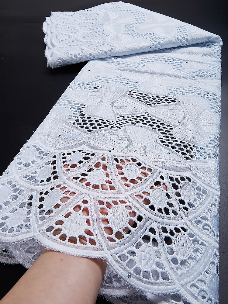 Swiss Voile Lace Fabric White Cotton Swiss Voile Lace In Switzerland Embroidery African Lace Fabric For Women Dress TY024 african 100% cotton lace fabric 2021 high quality lace material in switzerland embroidery swiss voile lace fabric ty013