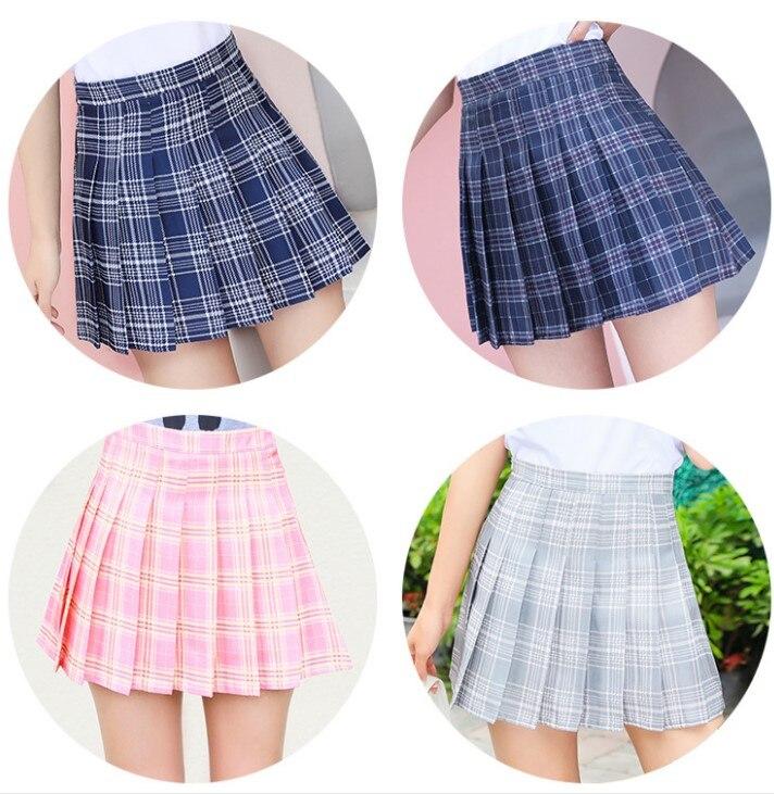 Women Mini Pleat Skirt Harajuku Preppy Style Plaid Skirts Cute Japanese School Uniforms Ladies Jupe Kawaii Skirt Saia Faldas