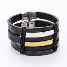 Nouveau Design hommes Vintage Wrap noir en cuir Bracelet Bracelet manchette noir/argenté/or couleur acier inoxydable Bracelet bijoux