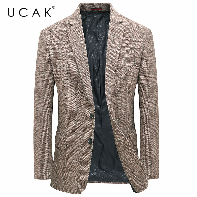 UCAK Brand New Spring Streetwear Men Wool Blazer Clothing Casual Solid Color Single Breasted With Po