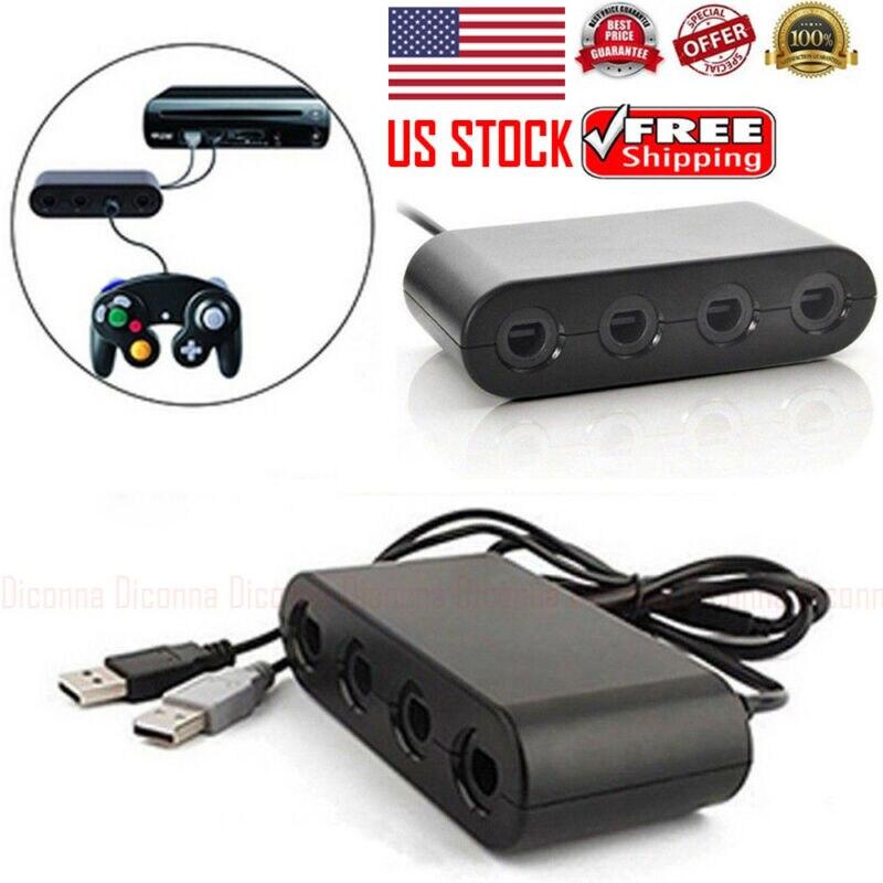 Controlador de 4 puertos para Nintendo GameCube a Wii U Adaptador convertidor para mando NGC caja de conversión