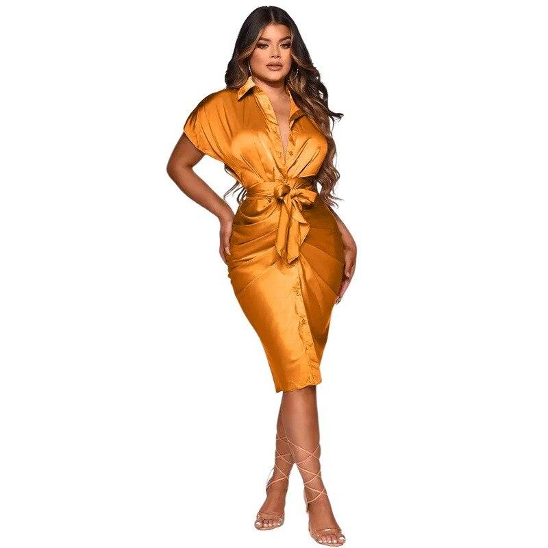 Летнее женское платье 2021 Женская одежда с бесплатной доставкой с глубоким V-образным вырезом однобортное Плиссированное асимметричное жен...