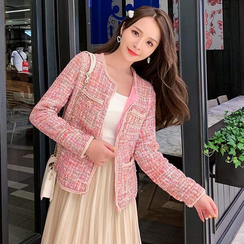 2020 New Women Pink Tweed Jacket Coat Runway Autumn Winter Single Breasted Weave Female Fashion Vintage Outerwear