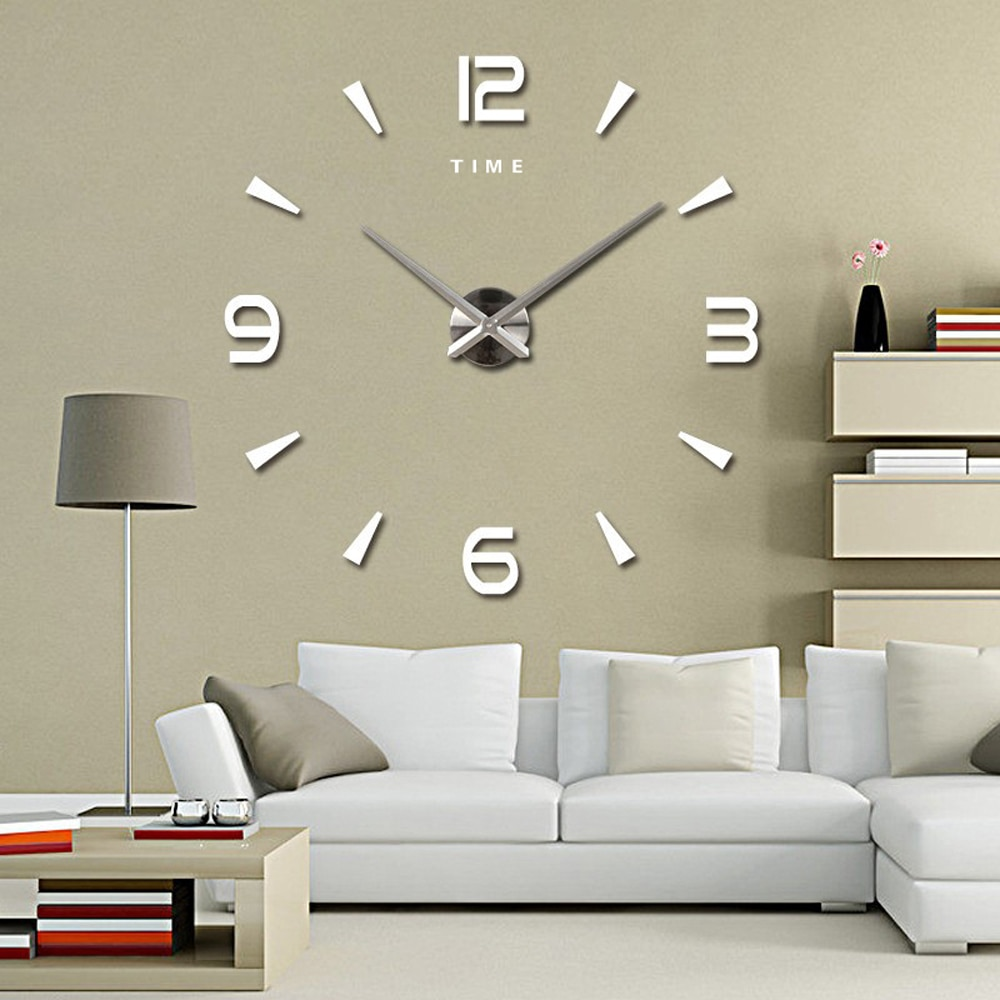 Large Wall Clock Quartz 3D DIY Big Decorative Kitchen Clocks Acrylic Mirror Stickers Oversize Wall Clock Home Letter Home Decor