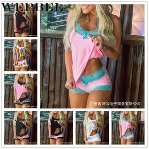 WEPBEL привлекательные пижамные комплекты для женщин, элегантная, v-образный вырез, без рукавов на бретельках топы и шорты женские кружева шить...