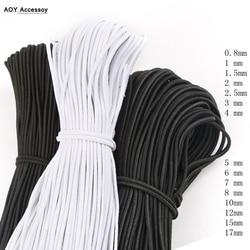 Faixa elástica redonda bungee choque cabo preto branco cinta estiramento corda para artesanal diy artesanato jóias fazendo ao ar livre projeto
