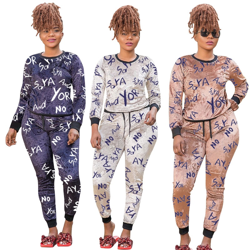 Fashion Letter Printing Two-Piece Set Plus Size Women's Round Neck Top And Trousers With Casual Sportswear Suit Spring 2021 New