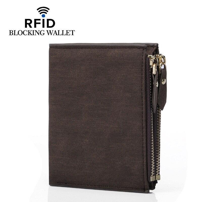 Новый мужской кошелек брендовый кожаный кошелек с двойной молнией Дизайнерский Модный маленький кошелек мужской короткий кошелек с RFID-бло...