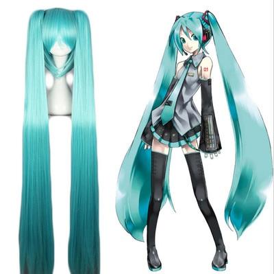 Japonés Mcoser! VocAloid Hatsune Miku Aqua azul largo recto racimos lindo peluca Lolita Cosplay