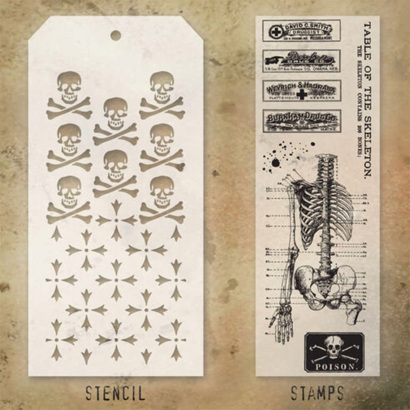 2021 New Halloween Skeleton Retro Clear Stamps and Stencil For DIY Making Paper Greeting Card Scrapbooking No Metal Cutting Dies