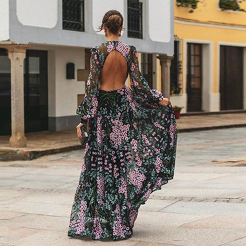 Women Summer Dress 2019 Casual Long Sleeve Backless Long Dress Boho Floral Print Maxi Dress O-neck Elegant Dresses Vestidos
