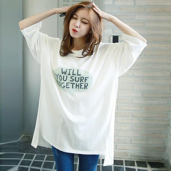 2021spring and Autumn New T-shirt Women's Three-Quarter Half Sleeve Mid-Length Korean Style Student