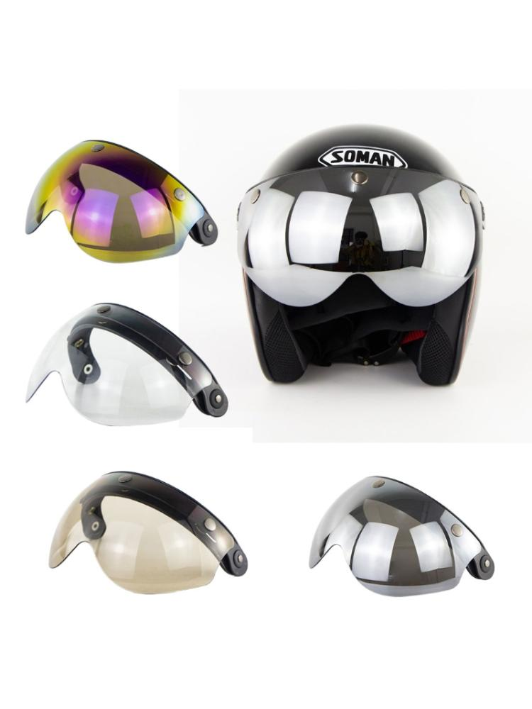 W glasses 3 Snap 3/4 Helmet Shield with FLIP UP Hinge for TORC T50 Vintage Moto vcoros straight 3 snap bubble shield motorcycle helmet visor retro scooter lens with flip up vintage helmet