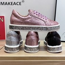 Women's Shoes Fashion Sports Shoes Outdoor Sports Skateboard Shoes Shining Uppers Casual Shoes Flat