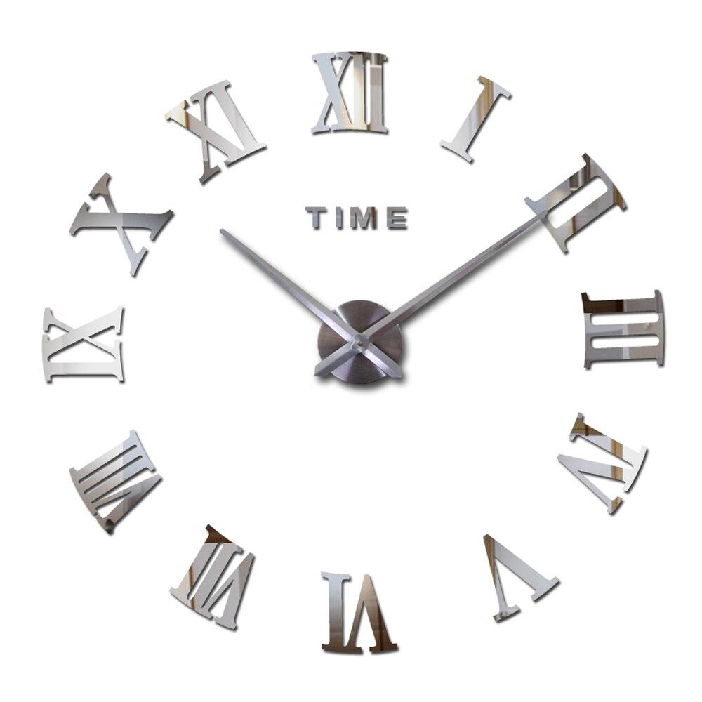 Reloj de pared grande 3D DIY, relojes de cocina grandes, pegatinas de espejo de acrílico de Número Romano, reloj de pared de gran tamaño para sala de estar, letra para el hogar