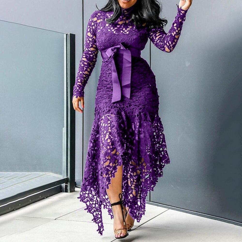 2020 Lace Floral Aushöhlen Kleid Frauen Langarm Mode Geraffte Neck Kleid Partei Formale Hohe Taille Maxi Unregelmäßige Saum kleid