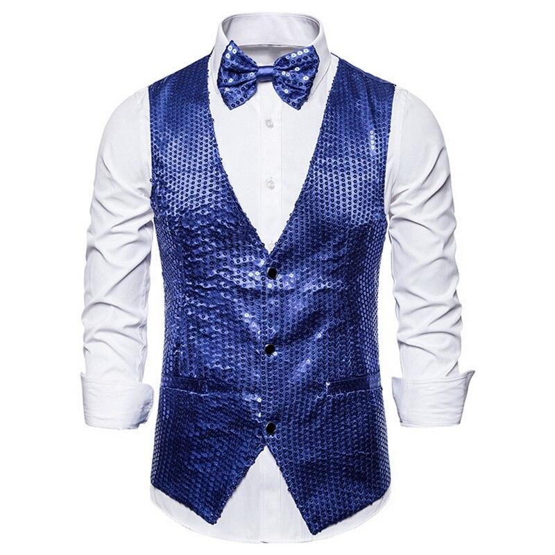 Oeak hombres chaquetas de lentejuelas chaleco 2019 moda de lujo brillante traje chaleco hombres ropa de noche ropa de escenario Casual Hombre purpurina chaleco