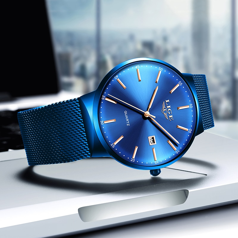 LIGE Womens Watches Top Brand luxury Analog Quartz Watch Women Full Blue Mesh Stainless Steel Date Clock Fashion Ultra-thin Dial enlarge