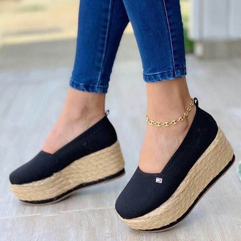 2021 New Womens Flat Shoes Summer Vulcanized Shoes Solid Thick Bottom Fashion Casual Shoe Breathable Walking Retro Footwear