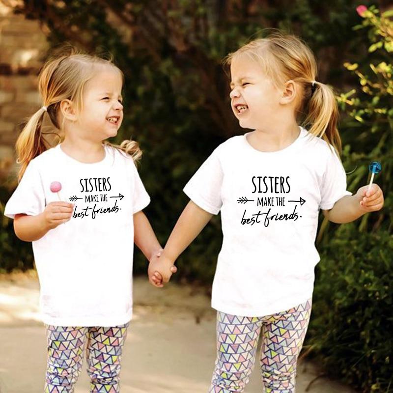 Sisters Make The Best Friends Kids T Shirt Girls Shirt Casual Children Toddler Best Friends Top Tees Sisters Tee Drop Ship
