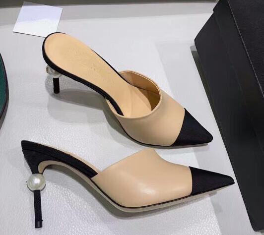 BONJEAN عارية الأسود مختلط الألوان عالية الكعب صندل امرأة مثير أشار تو اللؤلؤ الكعوب رقيقة أحذية الحفلات الصيف البغال صندل