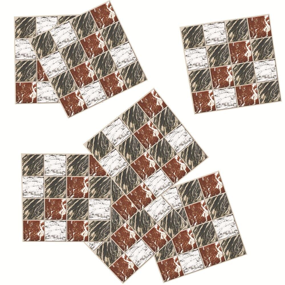 Mosaico helado en tres colores rojo, blanco y verde, mosaico artístico en mármol, pegatina para azulejo, decoración para cocina y baño, línea de cintura autoadhesiva, papel tapiz de PVC