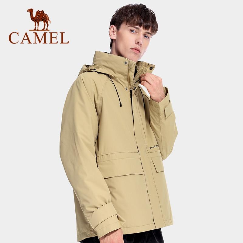 CAMEL Men Warm Waterproof  Jacket Two-piece Three-in-one Detachable Fleece Liner Tide Brand Tooling Jackets 2021 New