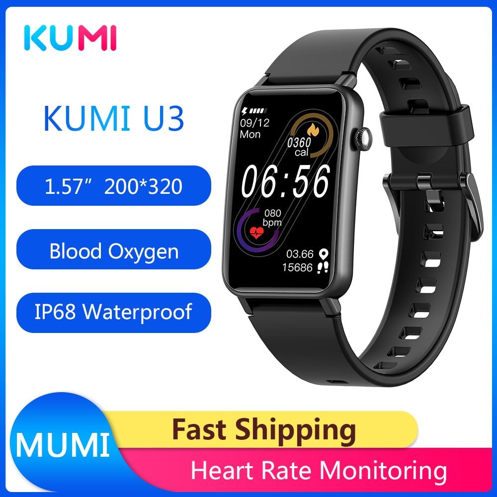 New Arrivial Original KUMI U3 Smart Watch 1.57inch 200x320 Bluetooth 5.0 IP68 Smartwatch Women Fashion Fitness Tracker Pedometer