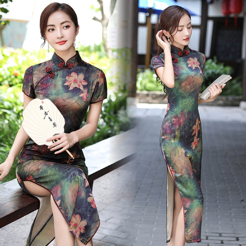 2021 Summer Women's Wear, Chinese Style Qipao, Long Short Sleeve Satin, Fashionable Daily Commuting, High-end Elegant Dress 2020