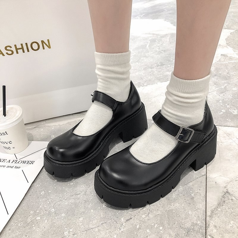 Women Leather Shoes Harakuju Lolita JK Student Sweet Girls Mary Jane Shoes Japanese High Heels Round Toe Platform Shoes Pumps japanese lolita shoes mary jane pu leather jk love girl student kawaii sweet round head waterproof black shoes anime cosplay