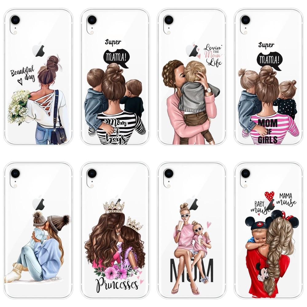 Funda de silicona blanda para iPhone 6 S 6 S 7 8 X XR XS Max, funda negra para niñas, bebés y mujeres, funda para teléfono Apple iPhone 8 7 6 S 6 S Plus