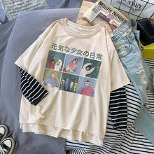 Fake Two Pieces T shirt Streetwear Woman Cute Japan Long Sleeve O Neck Women Tops Tees Casual Loose Kawaii High Street T shirt