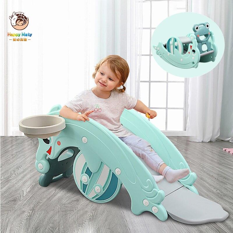 Caballo balancín multifunción para bebé, tres en uno, Tobogán interior para niños con aro de baloncesto, juguetes para parque infantil, juguetes para niños