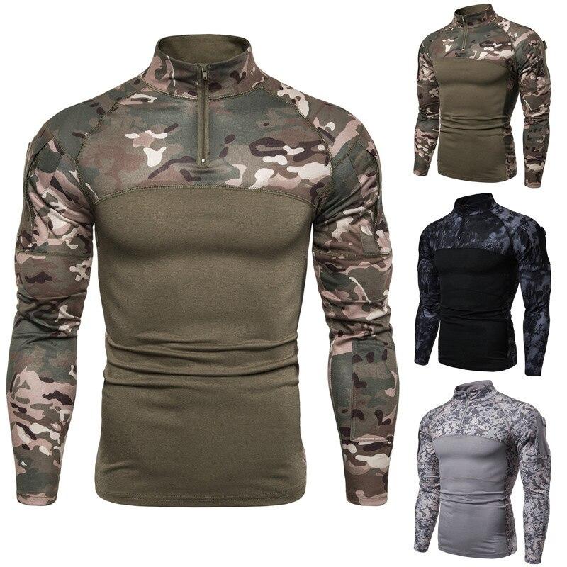 Camisa militar táctica para exteriores para hombre, camisa de manga larga de secado rápido de camuflaje y Rana, camiseta de combate, pesca, Trekking, escalada, ejército, ropa