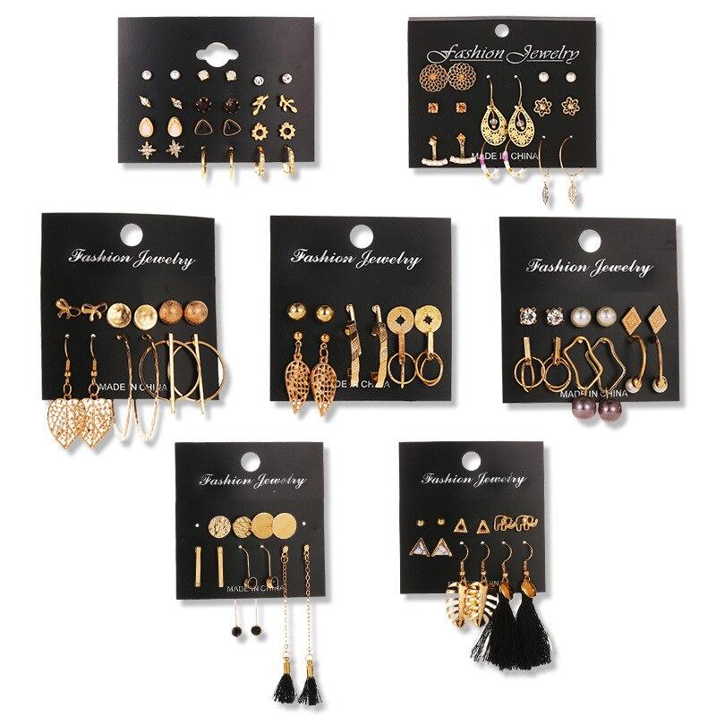 2021Hot Selling Women's Earrings Set Pearl Stud Earrings For Women Bohemian Fashion Jewelry Acrylic Geometric Pendants Earrings недорого