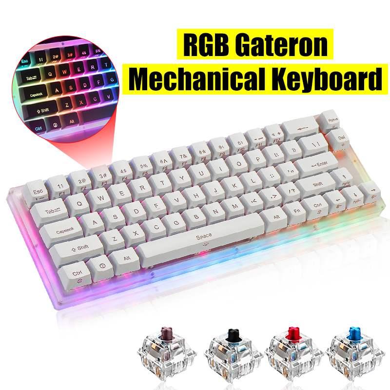 Teclado 66Key tyce-c con cable RGB retroiluminado Teclado mecánico para jugar con Base de cristal para PC portátiles