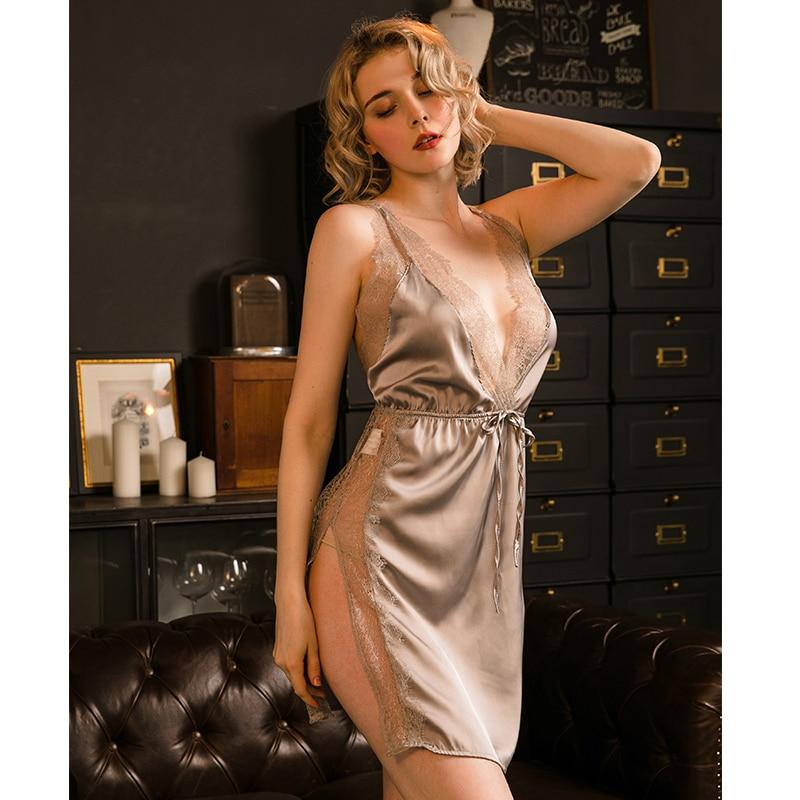 Sexy Sleepwear Womens Silk Satin Eyelash Lace Nightdress Thin Section Split Fork Home Service Sleeping Dress Lingerie Nightgown