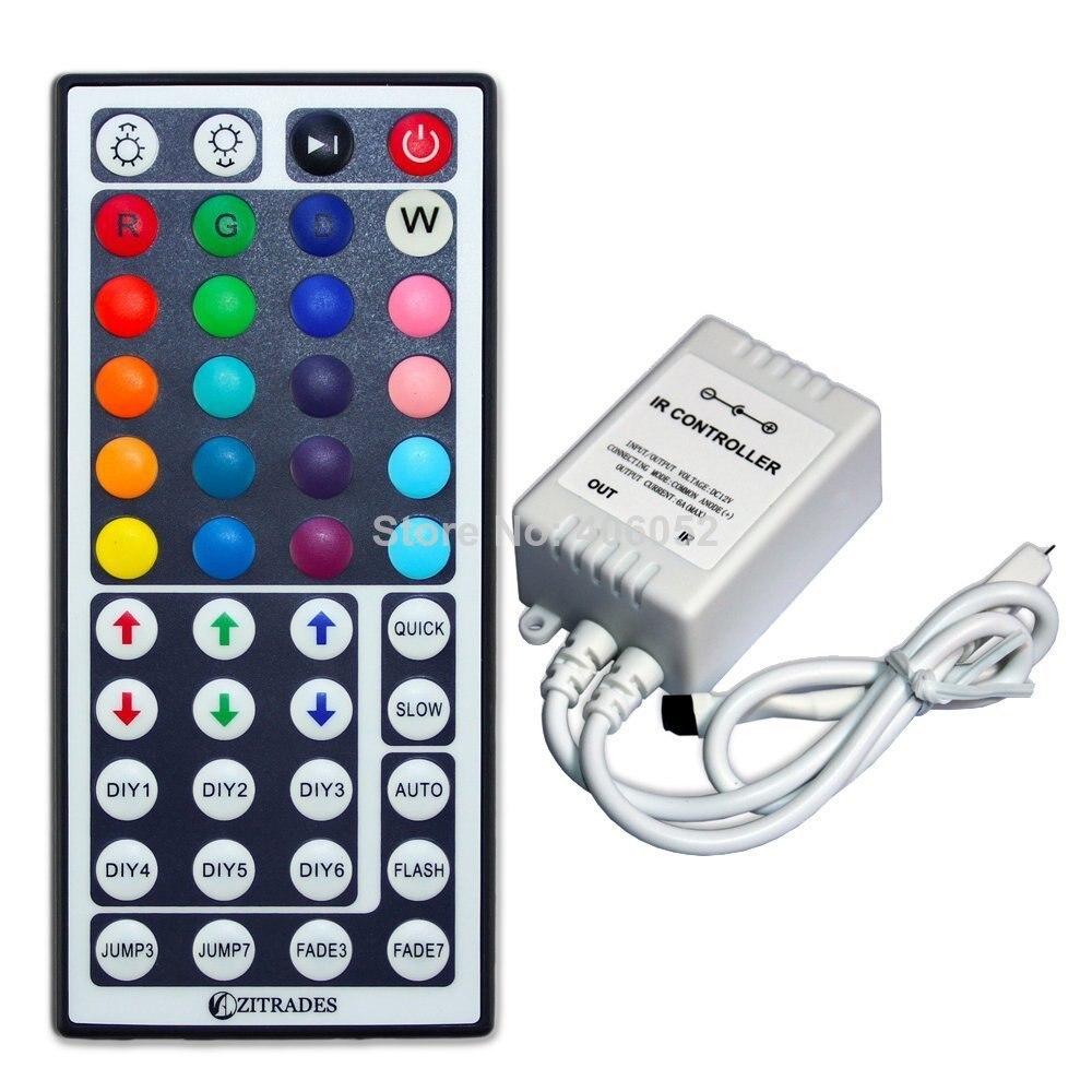 10 set/lote dc12v entrada ir remoto rgb controler 44 chave para smd 5050 led luz de tira multi-cor mudando