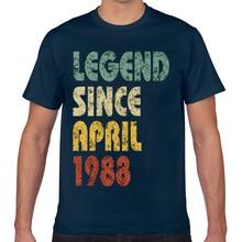 Tops T Shirt Men retro legend since april 1988 funny quote slogan Funny Inscriptions Geek Cotton Male Tshirt XXX